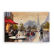 Tablou Canvas - Franta, Paris, Turnul Eiffel, Oras, Cladiri, Oameni, Romantic, Iubire, Toamna, Pictura, fig. 1