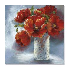 Tablou Canvas - Aranjament în roșu, natura moarta, flori, vaza, fig. 2