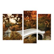 Tablou Multicanvas - Bow Bridge, New York, America, Toamna, Maro, Alb, fig. 2