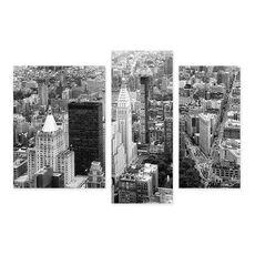 Tablou Multicanvas - Manhattan de Sud, Oras, Cladiri, Strazi, Alb negru, America, fig. 1