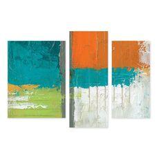 Tablou Multicanvas - Efect Urban, Abstract, Albastru, Verde, Portocaliu, fig. 1