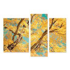 Tablou Multicanvas - Toamna uimitoare, Creanga, Galben, Albastru, Maro, fig. 1