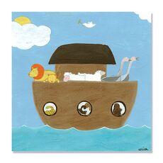 Tablou Canvas - Arca lui Noe II, desen, pentru copii, Barca, Animale, fig. 2