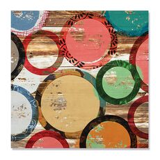 Tablou Canvas - Ambianta IV, Cercuri, Culori, Buline, Maro, Verde, Rosu, fig. 2