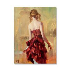 Tablou Canvas - Fata în rochie bronz II, Copil, Retro, fig. 2