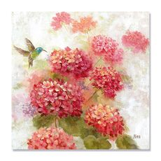 Tablou Canvas - Colibri in gradina I, Pasare, Floare, Roz, fig. 2