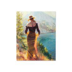 Tablou Canvas - Doamna langa lac, Mal, Copac, Retro, fig. 2