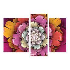 Tablou Multicanvas - Geometrie florala II, Mov, Galben, Alb, fig. 1