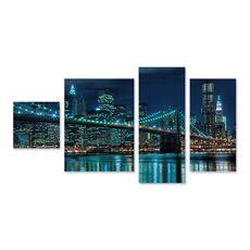 Tablou Multicanvas -  Podul Brooklyn noaptea I, Rau, Cladire, Lumini, Albastru, fig. 1