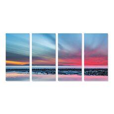Tablou Multicanvas - Ultima lumina, Roz, Albastru, Apus, Mare, Apa, Stanci, fig. 1