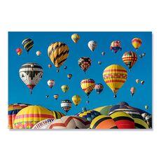 Tablou Canvas - Baloane cu aer cald, Galben, Albastru, fig. 2