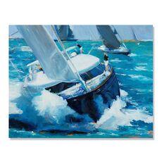 Tablou Canvas - Apa alba, Barca, Mare, Albastru, fig. 2