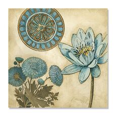 Tablou Canvas - Blue & Taupe Blooms II, fig. 2