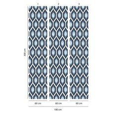 Tapet Premium - Forme, Floral, Albastru, Abstract, Color, Vlies (Non-Woven), Eco Frendly, Nu necesita adeziv, Set 3 role, 5,4 mp, fig. 3