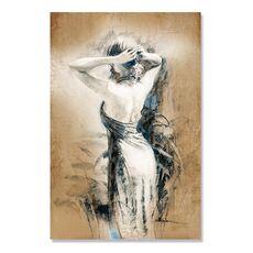 Tablou Canvas - Femeie, Alb, Maro, Retro, fig. 2