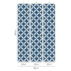 Tapet Premium - Encaustic, Ornament, Geometric, Vintage, Blue, Vlies (Non-Woven), Eco Frendly, Nu necesita adeziv, Set 3 role, 5,4 mp, fig. 3