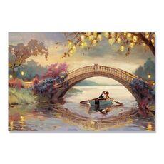 Tablou Canvas - Romantic, Iubire, Cuplu, Barca, Pod, fig. 1