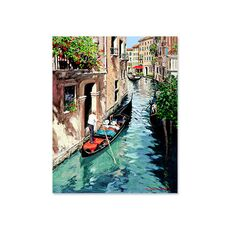 Tablou Canvas - Canal in oras, gondola, Retro, Venetia, Italia, fig. 1