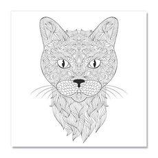 Tablou de colorat - Capul unei pisici, fig. 1
