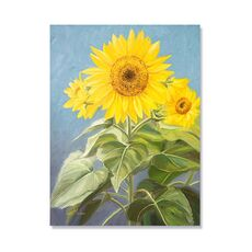 Tablou Canvas - Flori fericite, Galben, Albastru, Frunze, fig. 2