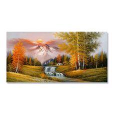 Tablou Canvas - Peisaj, Cascada, Munte, Copaci, Casuta, Toamna, Apus de soare, fig. 1