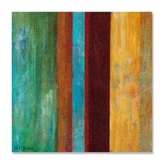 Tablou Canvas - Albastru la mijloc I, abstract, culori, Maro, Verde, Albastru, Verde, fig. 2