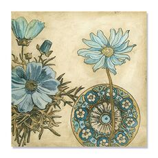 Tablou Canvas - Blue & Taupe Blooms I, fig. 2